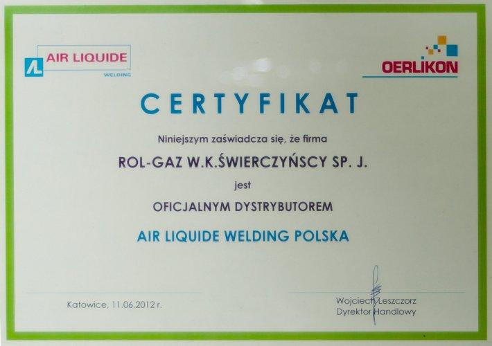 Certyfikat firmy Air Liquid