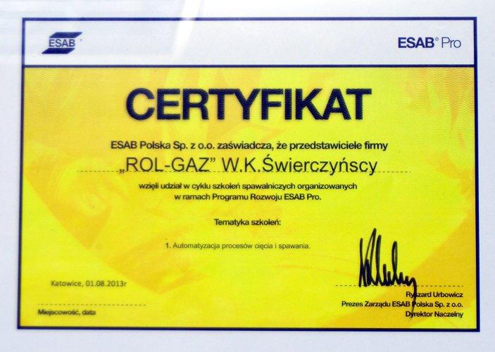 Certyfikat firmy ESAB