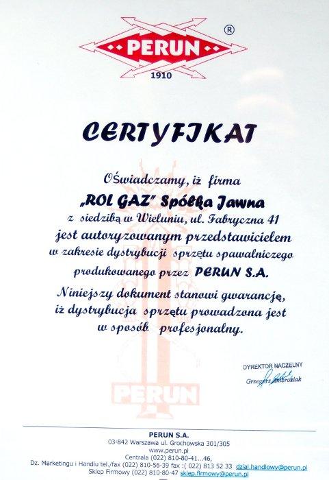 Certyfikat firmy PERUN